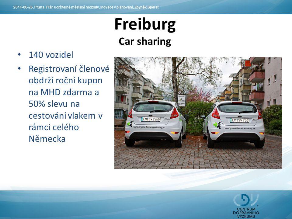 140 vozidel Registrovaní členové obdrží roční kupon na MHD zdarma a 50% slevu na cestování vlakem v rámci celého Německa Freiburg Car sharing 2014-06-