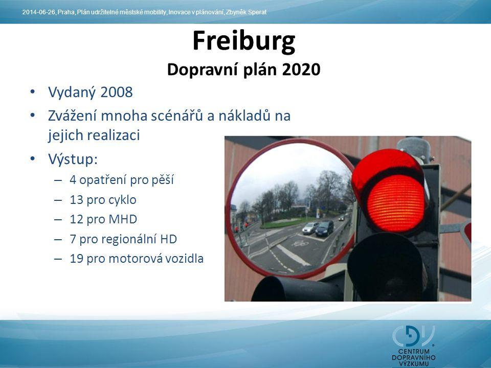 Vydaný 2008 Zvážení mnoha scénářů a nákladů na jejich realizaci Výstup: – 4 opatření pro pěší – 13 pro cyklo – 12 pro MHD – 7 pro regionální HD – 19 pro motorová vozidla Freiburg Dopravní plán 2020 2014-06-26, Praha, Plán udržitelné městské mobility, Inovace v plánování, Zbyněk Sperat