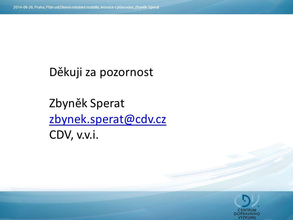 Děkuji za pozornost Zbyněk Sperat zbynek.sperat@cdv.cz CDV, v.v.i. 2014-06-26, Praha, Plán udržitelné městské mobility, Inovace v plánování, Zbyněk Sp
