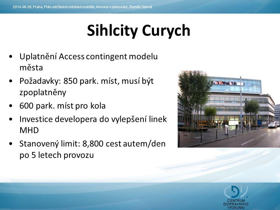 Sihlcity Curych Uplatnění Access contingent modelu města Požadavky: 850 park. míst, musí být zpoplatněny 600 park. míst pro kola Investice developera