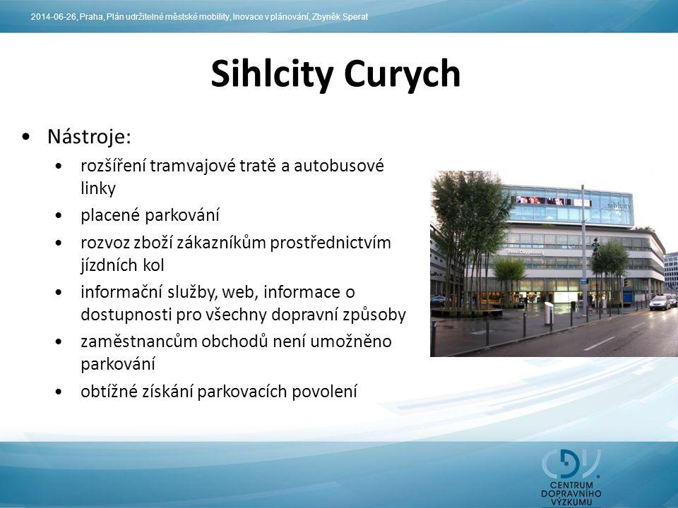 Sihlcity Curych Nástroje: rozšíření tramvajové tratě a autobusové linky placené parkování rozvoz zboží zákazníkům prostřednictvím jízdních kol informa