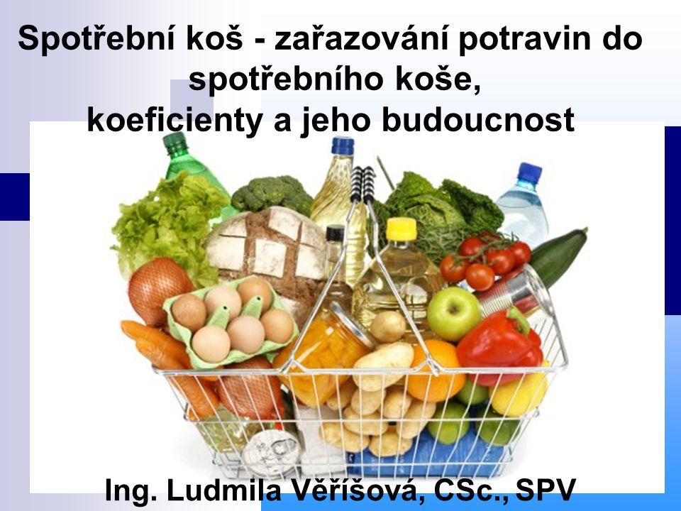 Spotřební koš - zařazování potravin do spotřebního koše, koeficienty a jeho budoucnost Ing. Ludmila Věříšová, CSc., SPV