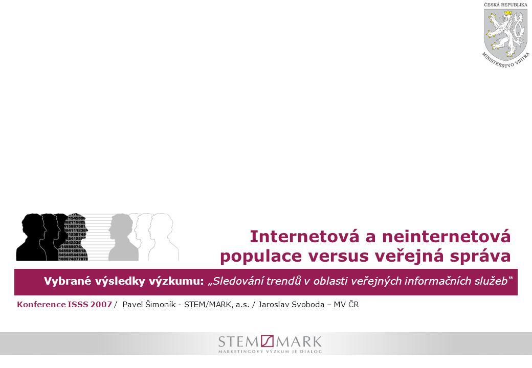 """Vybrané výsledky výzkumu: """"Sledování trendů v oblasti veřejných informačních služeb Internetová a neinternetová populace versus veřejná správa Konference ISSS 2007 / Pavel Šimoník - STEM/MARK, a.s."""