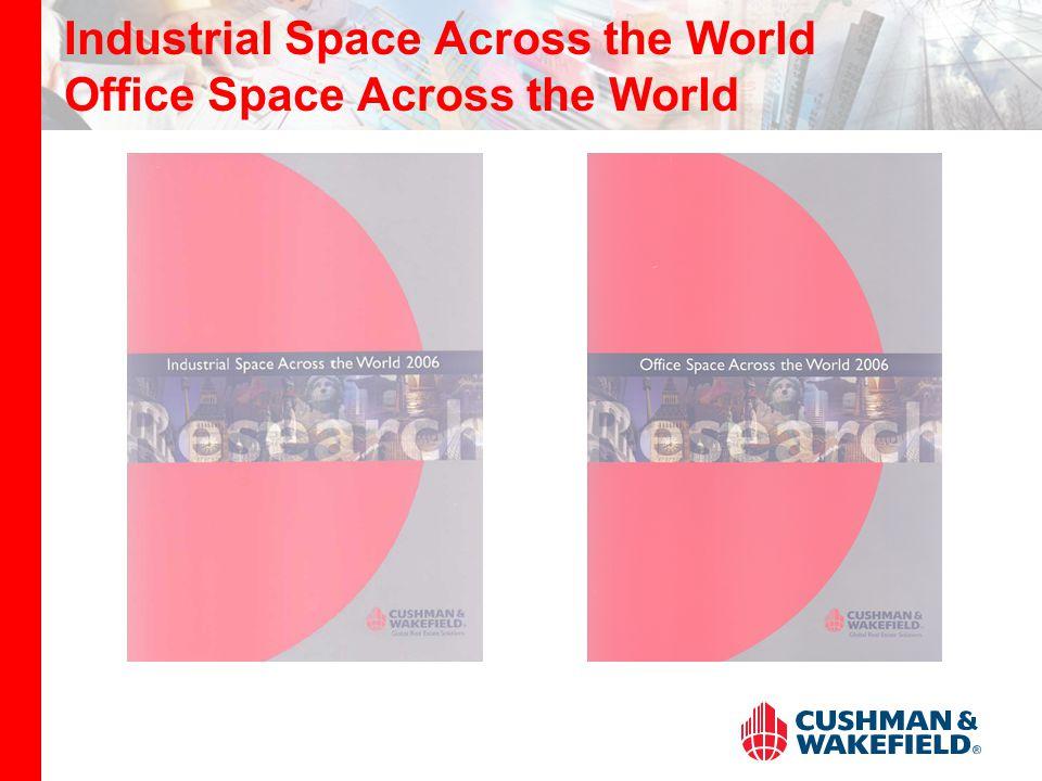 Industrial Space Across the World 2006 Průzkum srovnává nájemné za moderní skladové prostory v řadě lokalit na celém světě Do průzkumu jsou zařazeny vždy nejprestižnější objekty Výsledné pořadí je sestaveno pro 44 lokalit Průzkum zároveň hodnotí tendence a trendy v jednotlivých zemích z globálního pohledu Průzkum je založen na informacích poskytnutých 26 analytickými skupinami v rámci celosvětové sítě CW Tady Industrial Space Across the World brožura