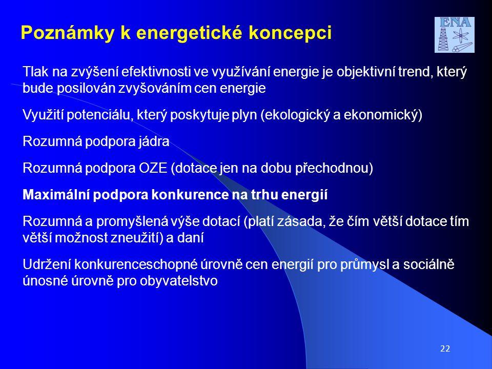 22 Poznámky k energetické koncepci Tlak na zvýšení efektivnosti ve využívání energie je objektivní trend, který bude posilován zvyšováním cen energie Využití potenciálu, který poskytuje plyn (ekologický a ekonomický) Rozumná podpora jádra Rozumná podpora OZE (dotace jen na dobu přechodnou) Maximální podpora konkurence na trhu energií Rozumná a promyšlená výše dotací (platí zásada, že čím větší dotace tím větší možnost zneužití) a daní Udržení konkurenceschopné úrovně cen energií pro průmysl a sociálně únosné úrovně pro obyvatelstvo