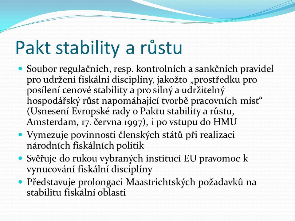 Pakt stability a růstu Soubor regulačních, resp.