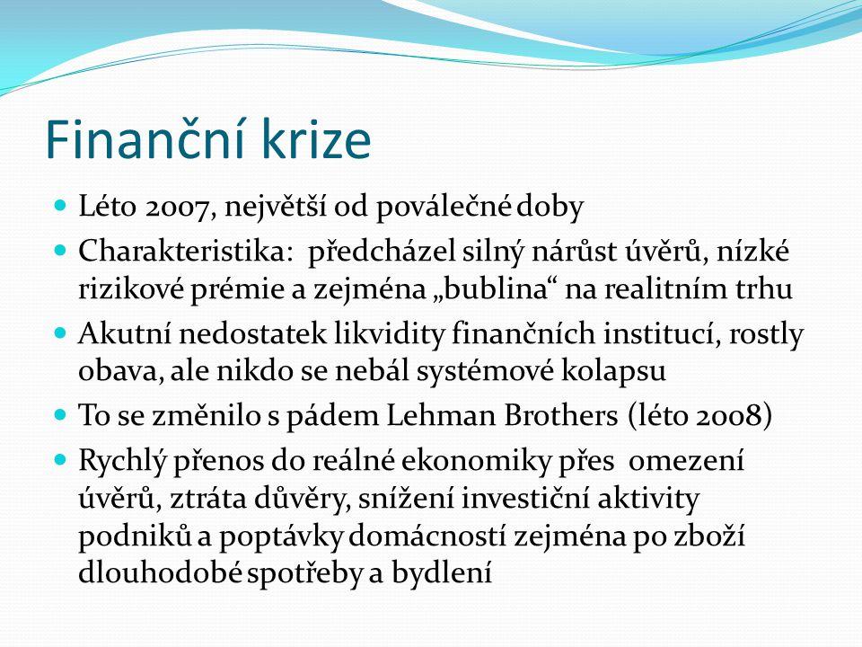 """Finanční krize Léto 2007, největší od poválečné doby Charakteristika: předcházel silný nárůst úvěrů, nízké rizikové prémie a zejména """"bublina na realitním trhu Akutní nedostatek likvidity finančních institucí, rostly obava, ale nikdo se nebál systémové kolapsu To se změnilo s pádem Lehman Brothers (léto 2008) Rychlý přenos do reálné ekonomiky přes omezení úvěrů, ztráta důvěry, snížení investiční aktivity podniků a poptávky domácností zejména po zboží dlouhodobé spotřeby a bydlení"""