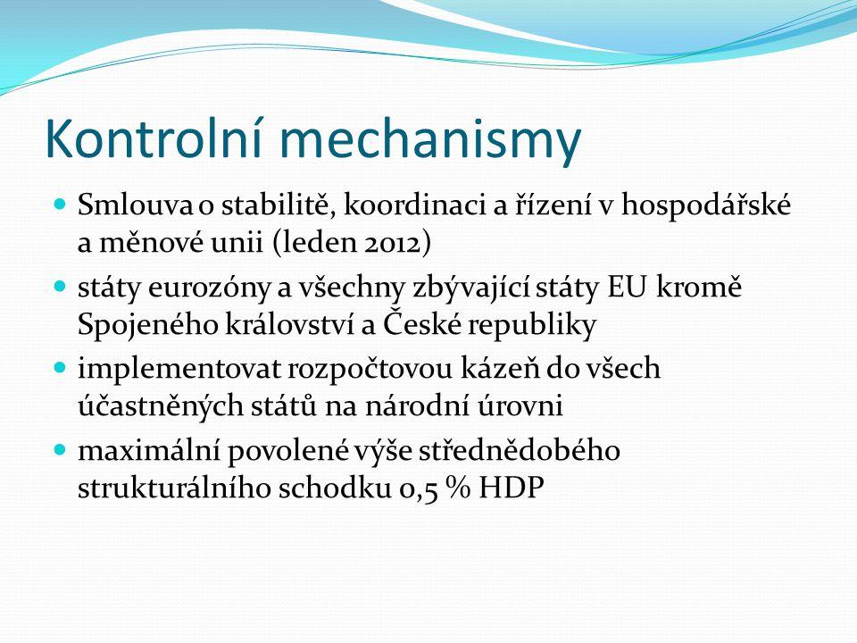 Kontrolní mechanismy Smlouva o stabilitě, koordinaci a řízení v hospodářské a měnové unii (leden 2012) státy eurozóny a všechny zbývající státy EU kromě Spojeného království a České republiky implementovat rozpočtovou kázeň do všech účastněných států na národní úrovni maximální povolené výše střednědobého strukturálního schodku 0,5 % HDP