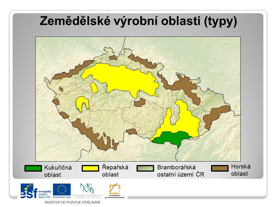 Zemědělské výrobní oblasti (typy) Kukuřičná oblast Řepařská oblast Bramborářská ostatní území ČR Horská oblast