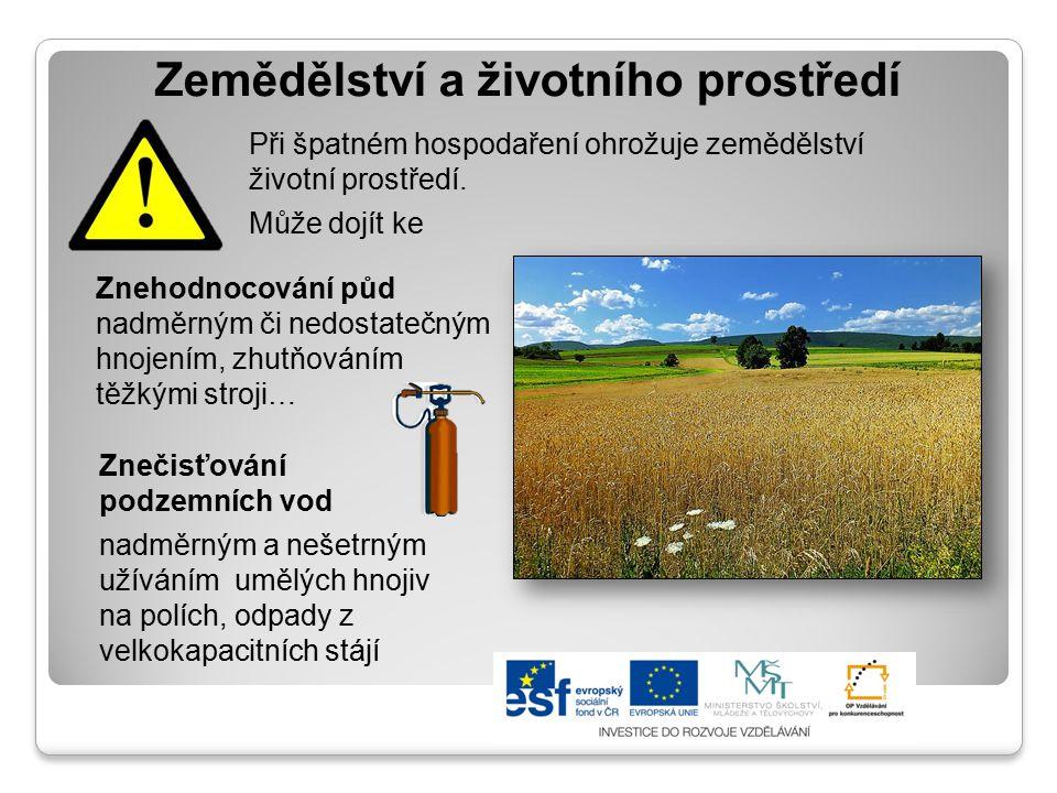 Zemědělství a životního prostředí Při špatném hospodaření ohrožuje zemědělství životní prostředí. Může dojít ke Znehodnocování půd nadměrným či nedost