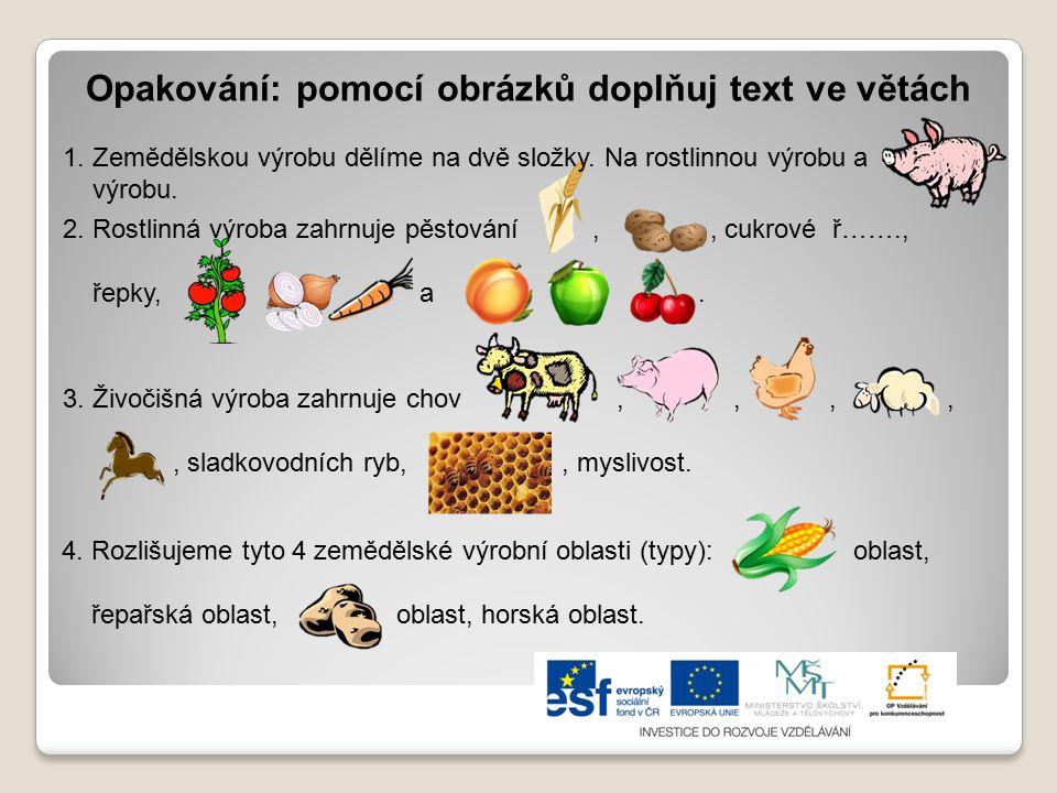 Opakování: pomocí obrázků doplňuj text ve větách 2. Rostlinná výroba zahrnuje pěstování,, cukrové ř……., řepky, a.. 3. Živočišná výroba zahrnuje chov,,