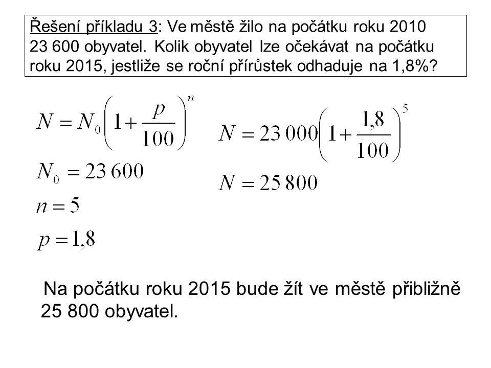 Řešení příkladu 3: Ve městě žilo na počátku roku 2010 23 600 obyvatel.