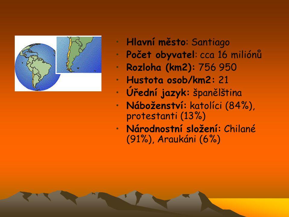 Hlavní město: Santiago Počet obyvatel: cca 16 miliónů Rozloha (km2): 756 950 Hustota osob/km2: 21 Úřední jazyk: španělština Náboženství: katolíci (84%