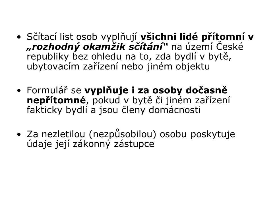 """Sčítací list osob vyplňují všichni lidé přítomní v """"rozhodný okamžik sčítání"""" na území České republiky bez ohledu na to, zda bydlí v bytě, ubytovacím"""