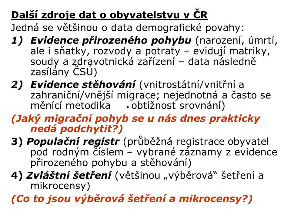Další zdroje dat o obyvatelstvu v ČR Jedná se většinou o data demografické povahy: 1)Evidence přirozeného pohybu (narození, úmrtí, ale i sňatky, rozvo