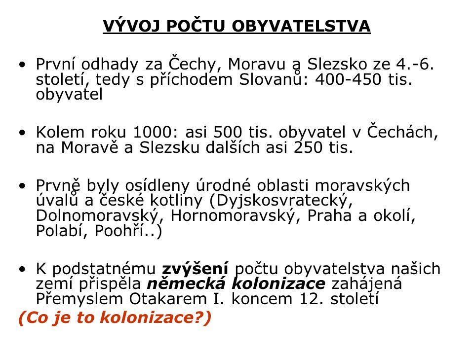 VÝVOJ POČTU OBYVATELSTVA První odhady za Čechy, Moravu a Slezsko ze 4.-6. století, tedy s příchodem Slovanů: 400-450 tis. obyvatel Kolem roku 1000: as