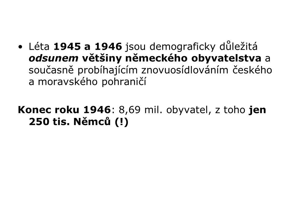 Léta 1945 a 1946 jsou demograficky důležitá odsunem většiny německého obyvatelstva a současně probíhajícím znovuosídlováním českého a moravského pohra