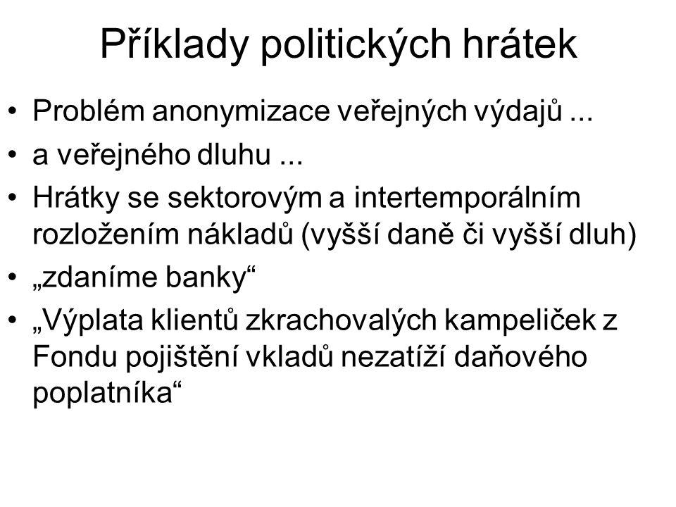 Příklady politických hrátek Problém anonymizace veřejných výdajů...