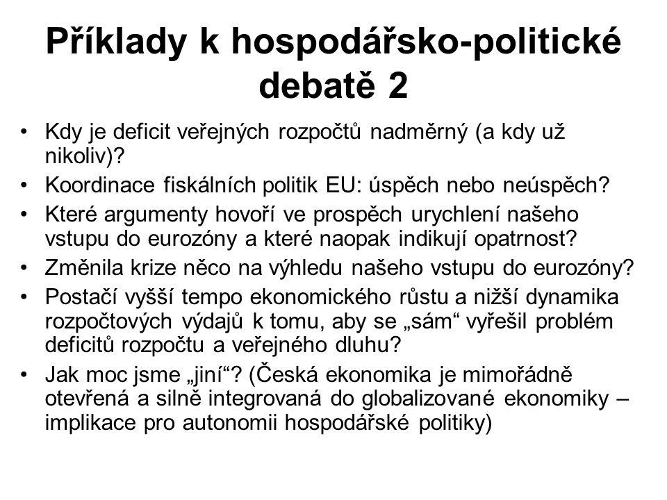 Příklady k hospodářsko-politické debatě 2 Kdy je deficit veřejných rozpočtů nadměrný (a kdy už nikoliv).