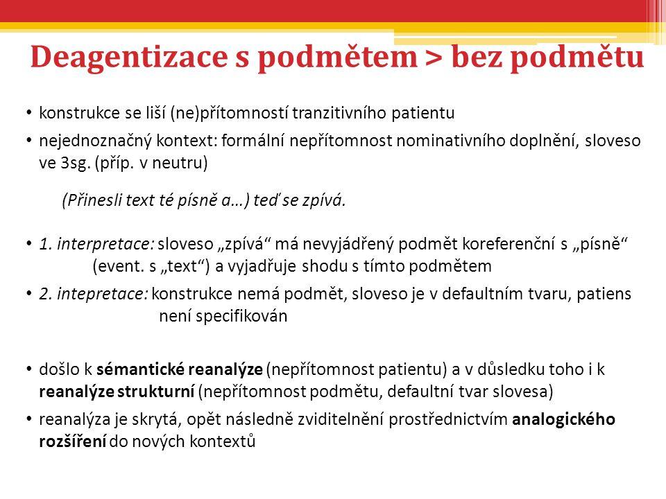 Deagentizace s podmětem > bez podmětu konstrukce se liší (ne)přítomností tranzitivního patientu nejednoznačný kontext: formální nepřítomnost nominativ