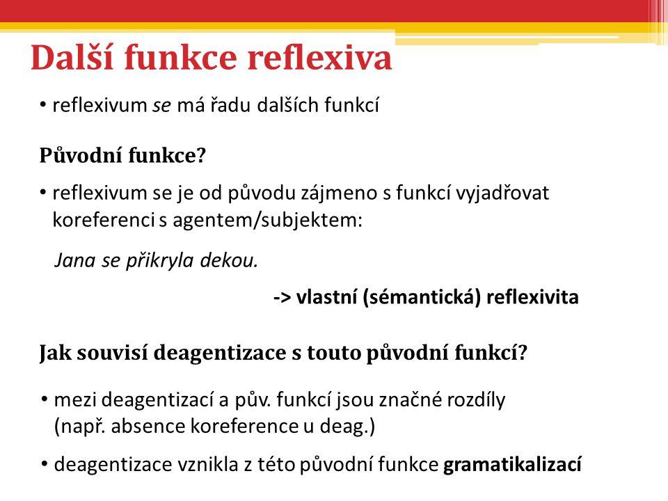 Další funkce reflexiva reflexivum se má řadu dalších funkcí Původní funkce? reflexivum se je od původu zájmeno s funkcí vyjadřovat koreferenci s agent