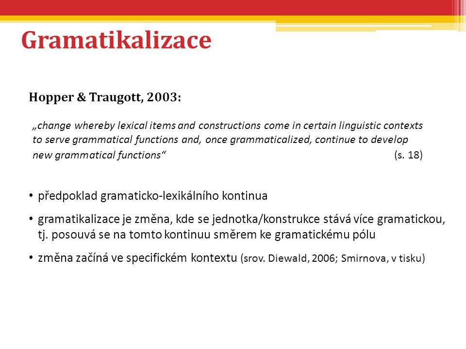 Gramatikalizace Hopper & Traugott, 2003: předpoklad gramaticko-lexikálního kontinua gramatikalizace je změna, kde se jednotka/konstrukce stává více gr