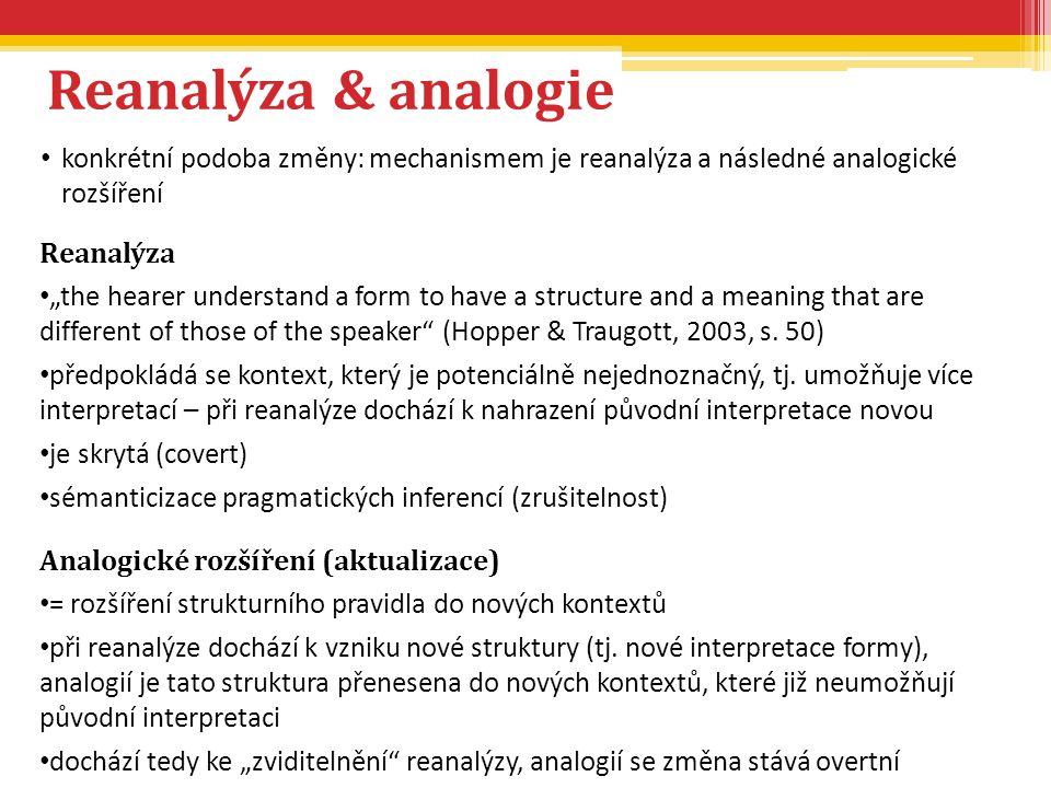 """Reanalýza & analogie konkrétní podoba změny: mechanismem je reanalýza a následné analogické rozšíření Reanalýza """"the hearer understand a form to have"""