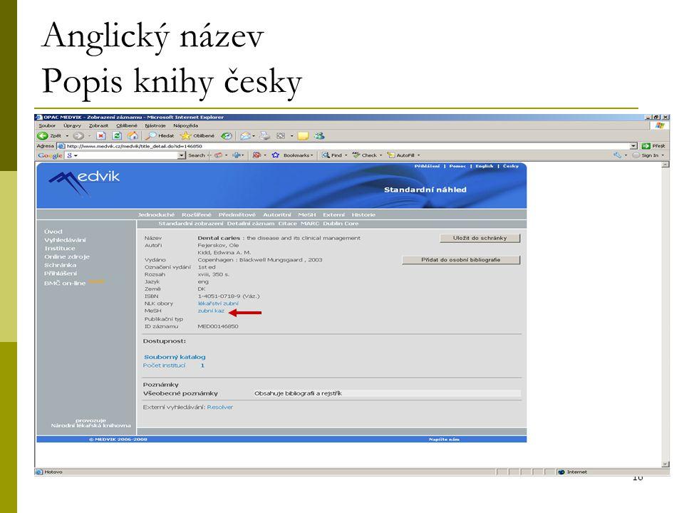 16 Anglický název Popis knihy česky
