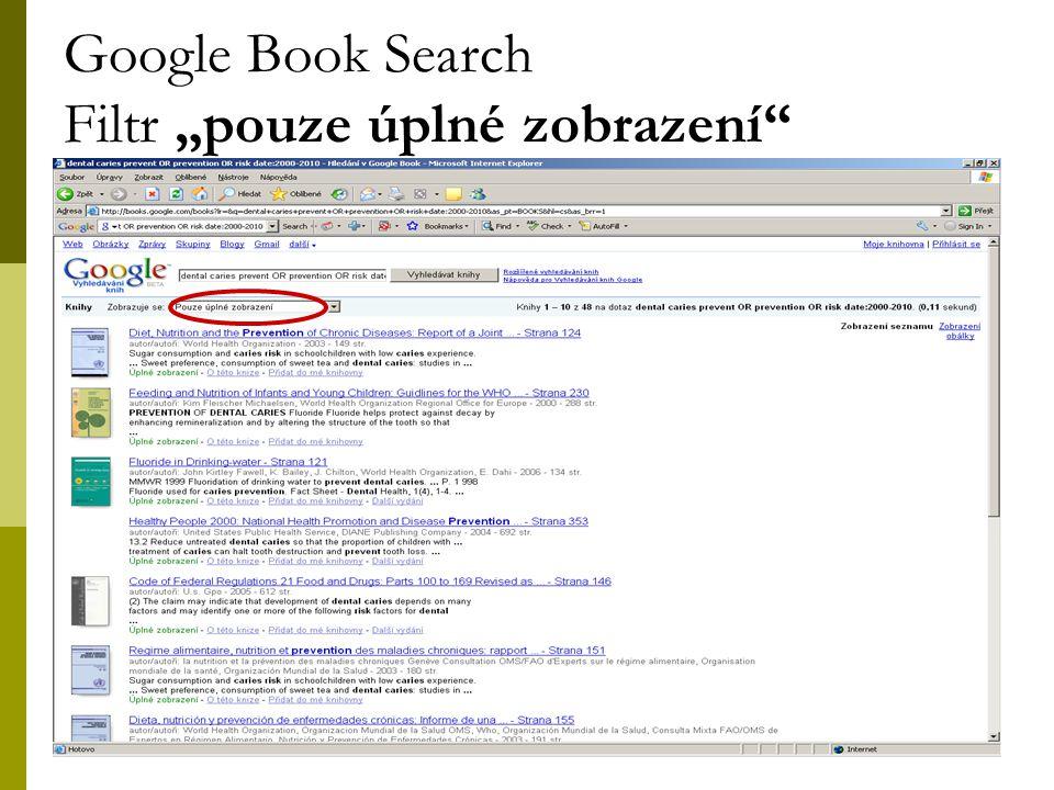"""30 Google Book Search Filtr """"pouze úplné zobrazení"""