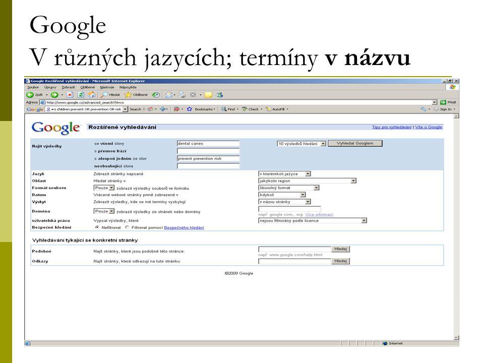 34 Google V různých jazycích; termíny v názvu