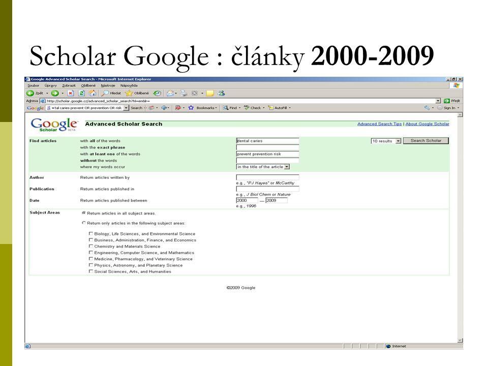 43 Scholar Google : články 2000-2009