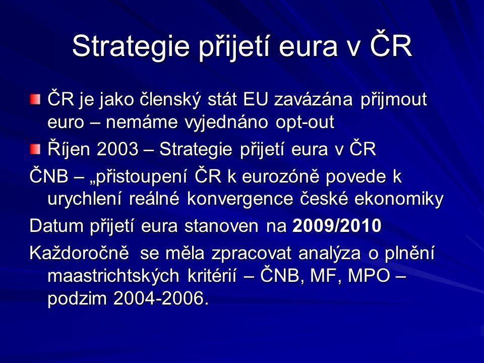 Strategie přijetí eura v ČR ČR je jako členský stát EU zavázána přijmout euro – nemáme vyjednáno opt-out Říjen 2003 – Strategie přijetí eura v ČR ČNB