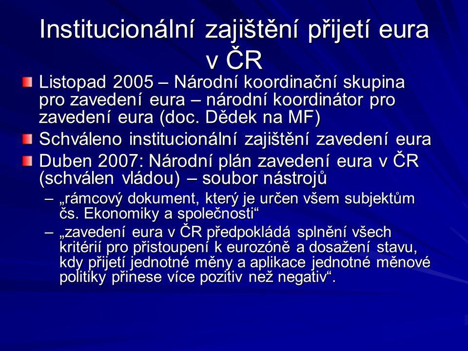 Národní plán zavedení eura v ČR – hlavní zásady Jednorázové zavedení eura – velký třesk Duální cirkulace: 2 týdny, v bezhotovostním styku ihned – platím Kč, dostanu zpět eura Kontinuita právních nástrojů – platnost smluv, právních předpisů, dluhů… Přepočítací koeficient – korunové hodnoty budou přepočítány na eura na základě přepočítacího koeficientu – šest číslic xx,xxxx Princip nepoškození občana