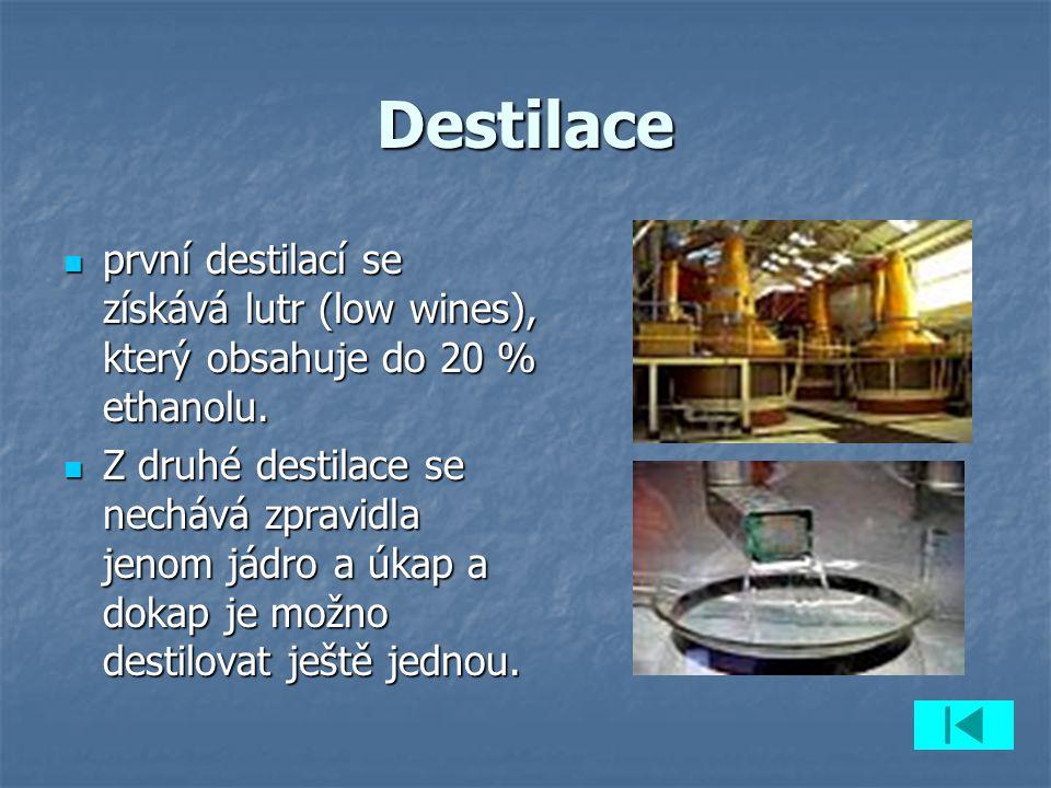 Destilace první destilací se získává lutr (low wines), který obsahuje do 20 % ethanolu. první destilací se získává lutr (low wines), který obsahuje do