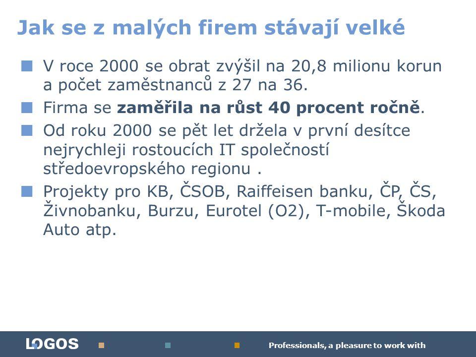 Professionals, a pleasure to work with ■ V roce 2000 se obrat zvýšil na 20,8 milionu korun a počet zaměstnanců z 27 na 36.