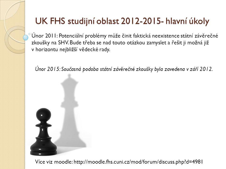 UK FHS studijní oblast 2012-2015- hlavní úkoly Únor 2011: Potenciální problémy může činit faktická neexistence státní závěrečné zkoušky na SHV. Bude t