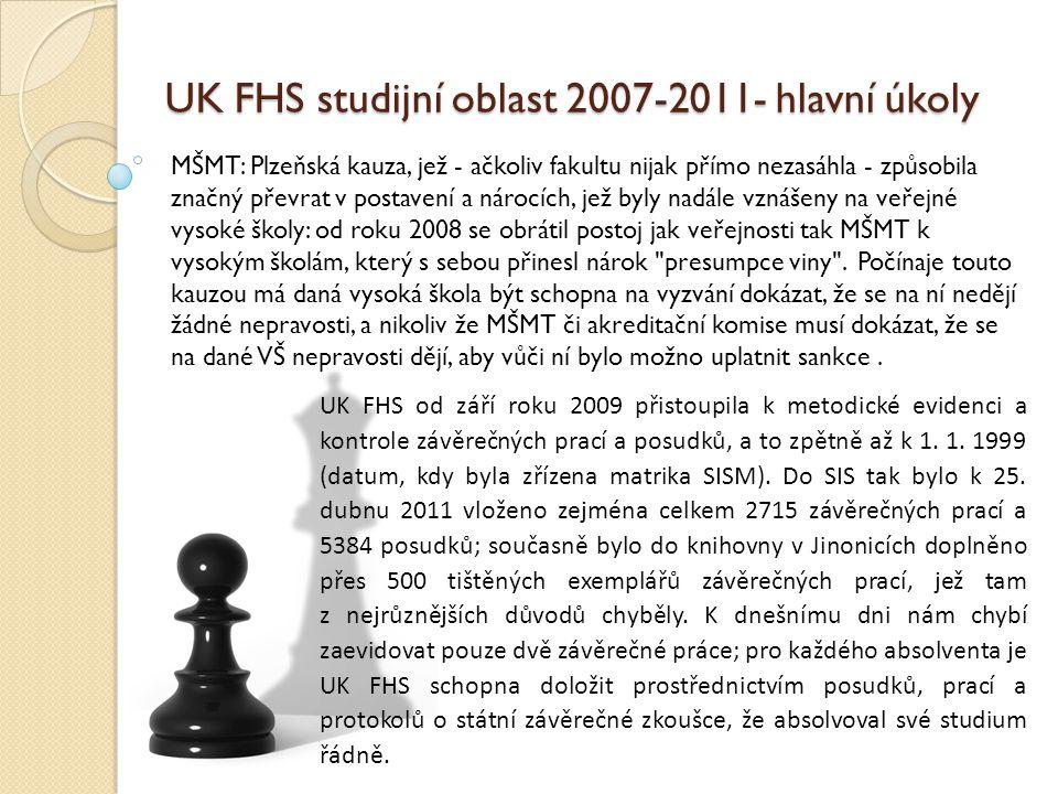 UK FHS studijní oblast 2007-2011- hlavní úkoly UK: V souvislosti s novými (sc.