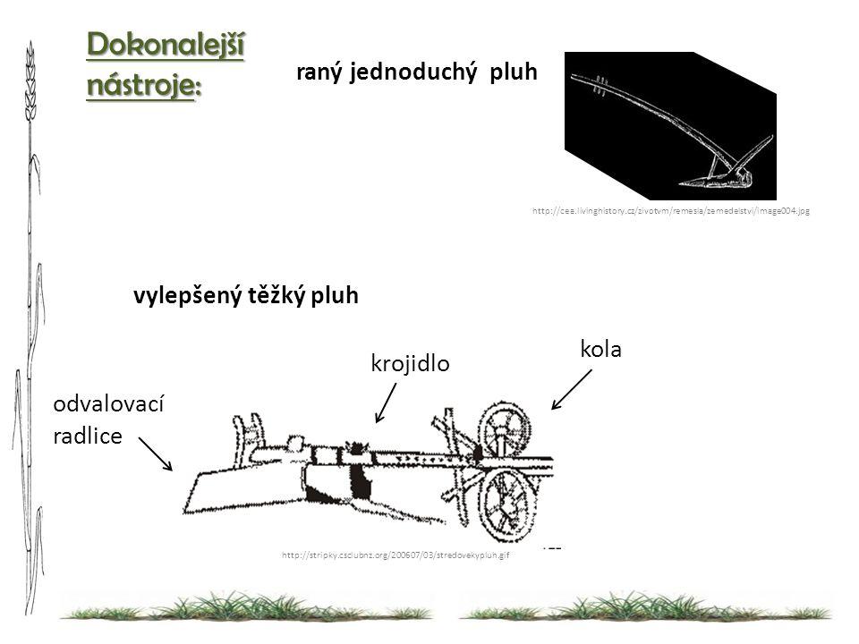 Dokonalejší nástroje: http://stripky.csclubnz.org/200607/03/stredovekypluh.gif vylepšený těžký pluh http://cea.livinghistory.cz/zivotvm/remesla/zemedelstvi/image004.jpg raný jednoduchý pluh kola krojidlo odvalovací radlice
