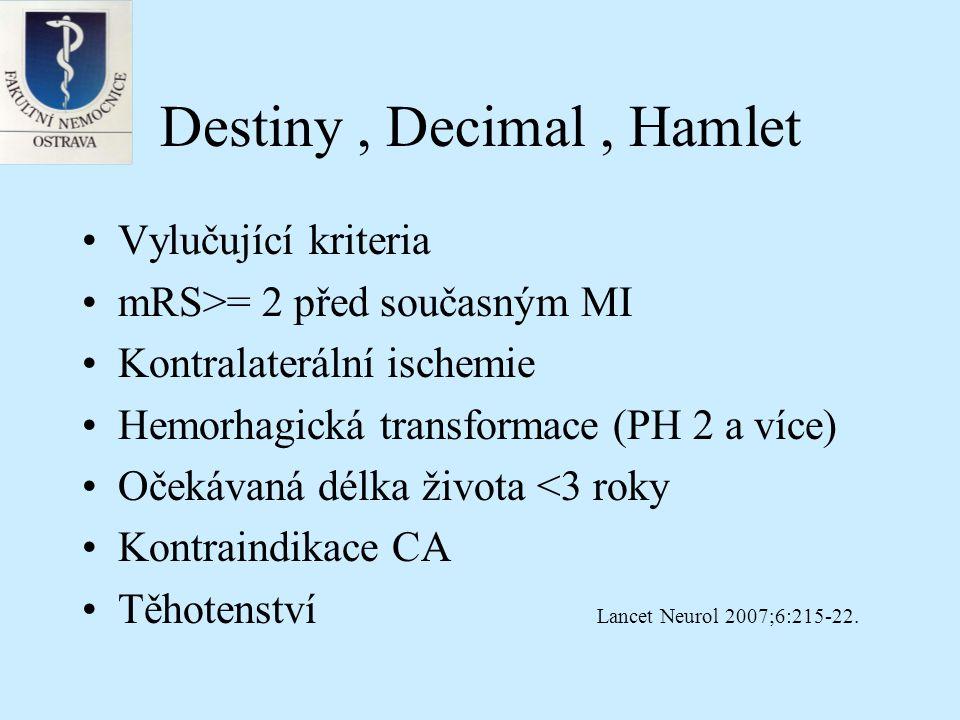 Destiny, Decimal, Hamlet Hemicraniectomie – nejméně 12cm, (vždy zahrnující F,T,P kost) Primární outcome – Rankin 0-4 versus 5-6 Sekundární outcome Rankin 0-3 versus 4-6 po jednom roce od operace Lancet Neurol 2007;6:215-22.
