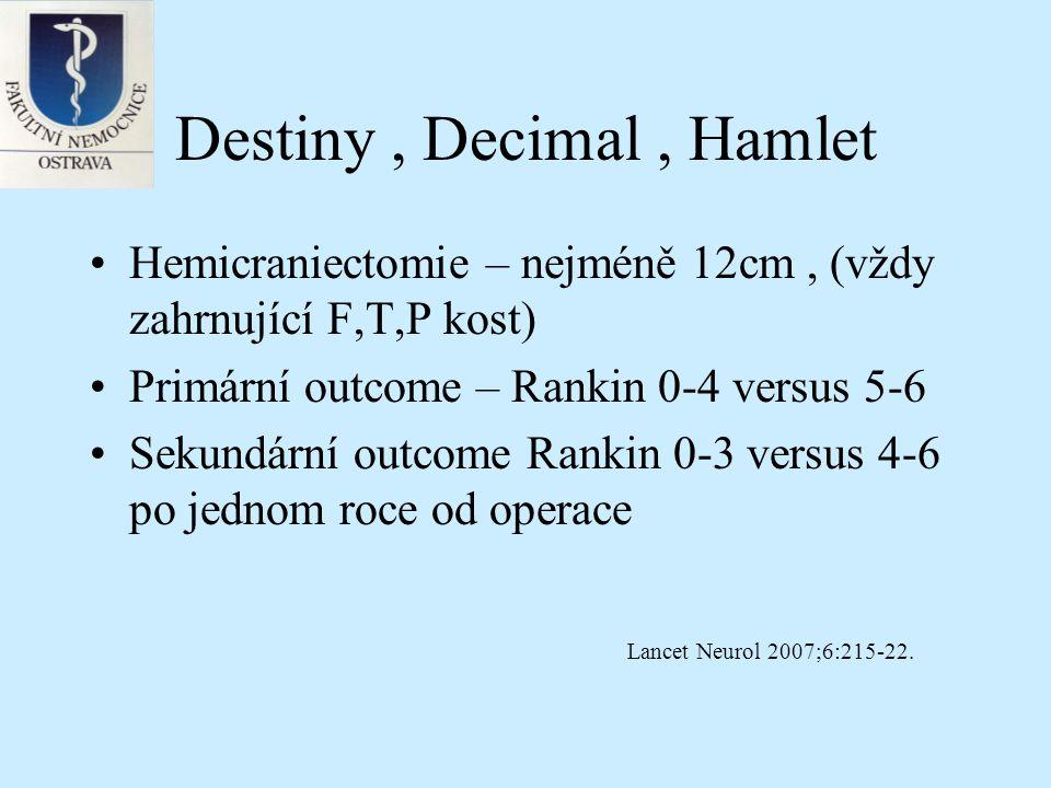 Destiny, Decimal, Hamlet Výsledky Statická analýza, Mann Whitney U test ARRs, ORs, 95% CI Podskupiny pod 50 let, do 24 hodin, s fatickou poruchou Celkem 93 pacientů Lancet Neurol 2007;6:215-22.