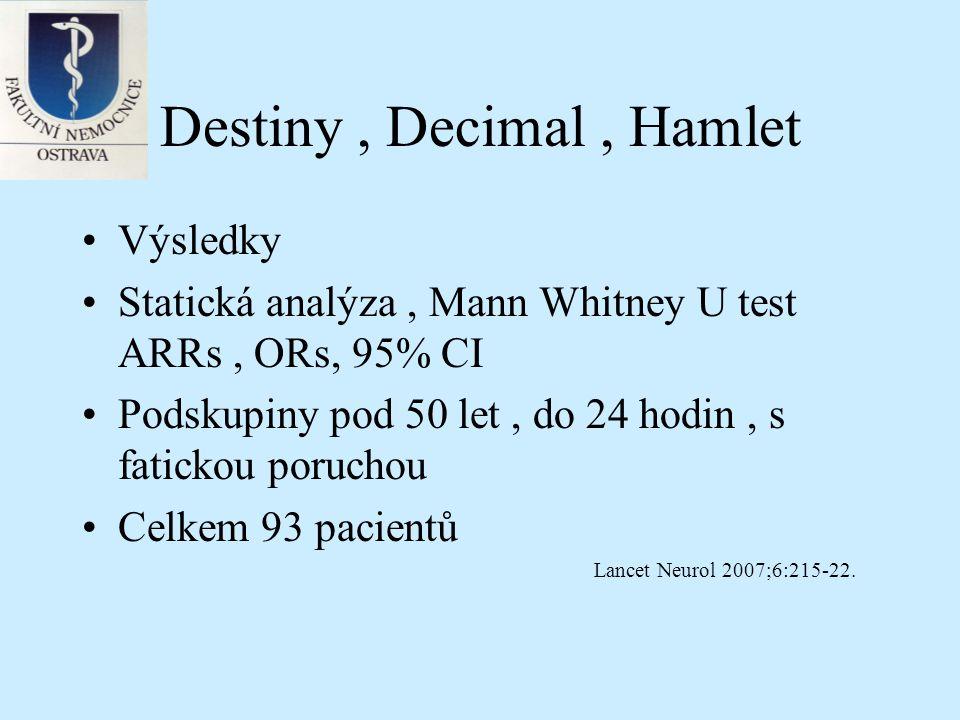 Destiny, Decimal, Hamlet Výsledky : Celkem 93 pacientů Primární outcome : ARR 50.3% NNT 2 Sekundární outcome 22.7% NNT4 Lepší výsledky u pacientů do 50 let Lancet Neurol 2007;6:215-22.