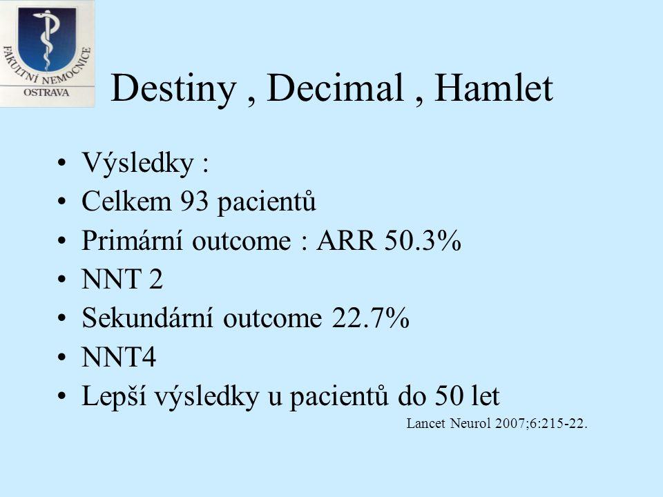 Destiny, Decimal, Hamlet Limitace studie – observer bias (chirurgické procedury) Heterogenita souboru (statisticky nevýznamná) Nebyly analyzovány CT nálezy – zejména velikost ischemie v cm2 Lancet Neurol 2007;6:215-22.