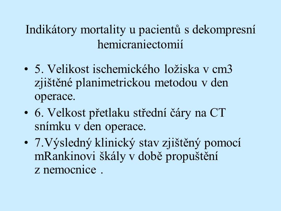 Výsledky 13 neurochirurgických pracovištích v CR z celkového počtu 14 dotázaných.