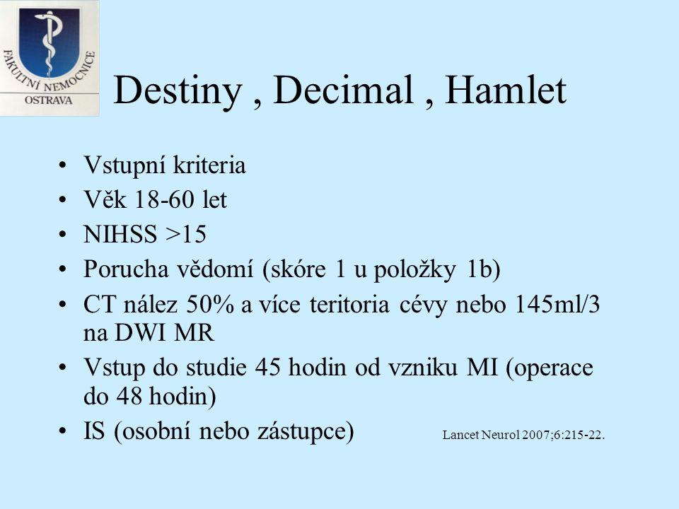 Destiny, Decimal, Hamlet Vstupní kriteria Věk 18-60 let NIHSS >15 Porucha vědomí (skóre 1 u položky 1b) CT nález 50% a více teritoria cévy nebo 145ml/3 na DWI MR Vstup do studie 45 hodin od vzniku MI (operace do 48 hodin) IS (osobní nebo zástupce) Lancet Neurol 2007;6:215-22.