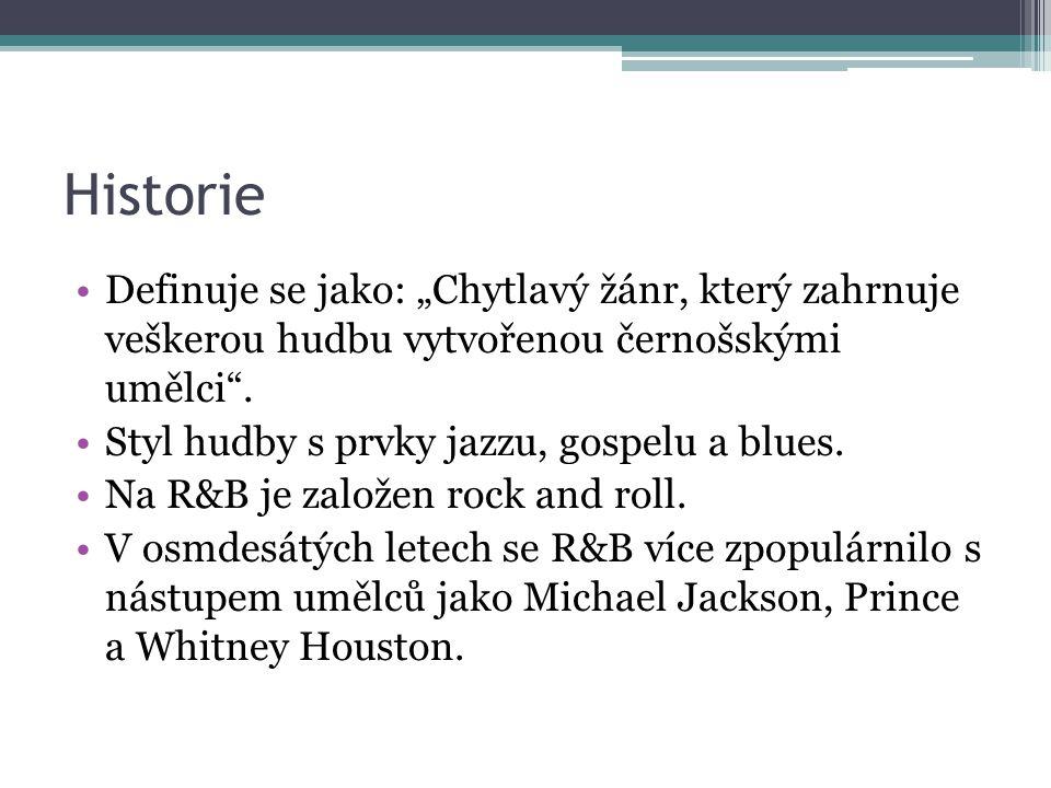 """Historie Definuje se jako: """"Chytlavý žánr, který zahrnuje veškerou hudbu vytvořenou černošskými umělci"""". Styl hudby s prvky jazzu, gospelu a blues. Na"""
