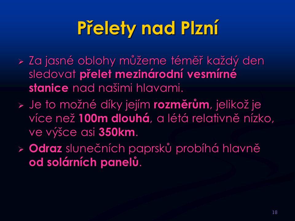 Přelety nad Plzní  Za jasné oblohy můžeme téměř každý den sledovat přelet mezinárodní vesmírné stanice nad našimi hlavami.