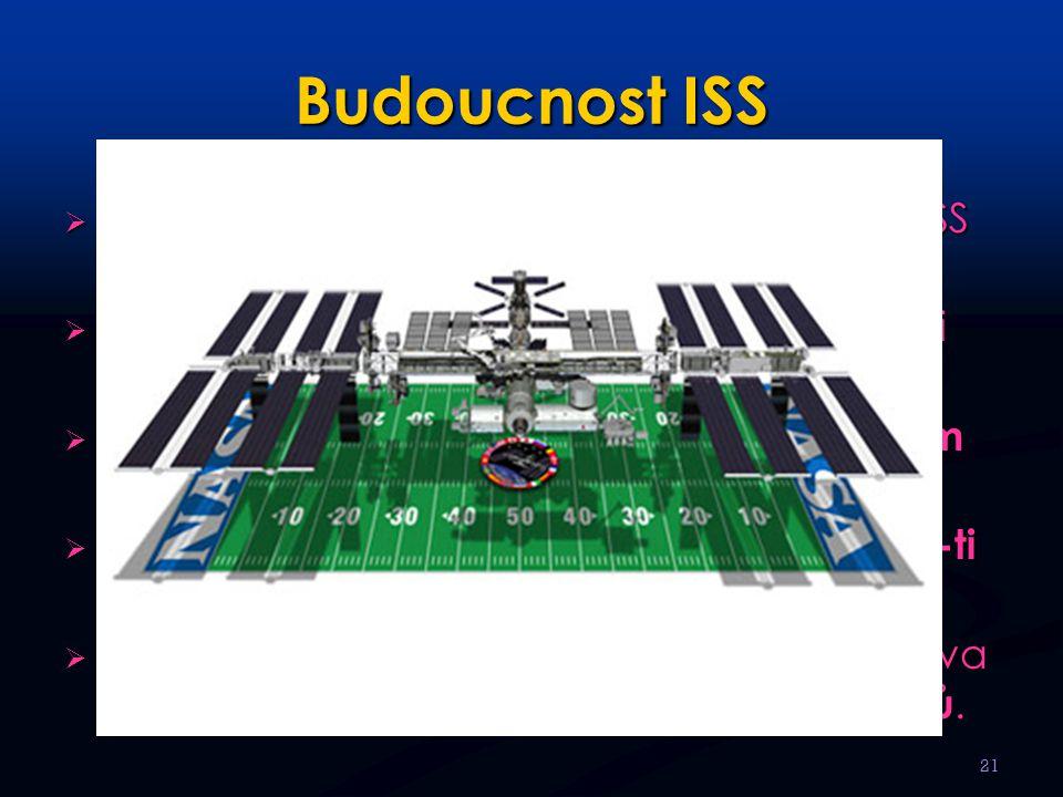 Budoucnost ISS  Finanční nákladnost projektu dokončení ISS stále oddaluje.  Předpokládá se přidání dalších obytných i podpůrných modulů.  Výsledná