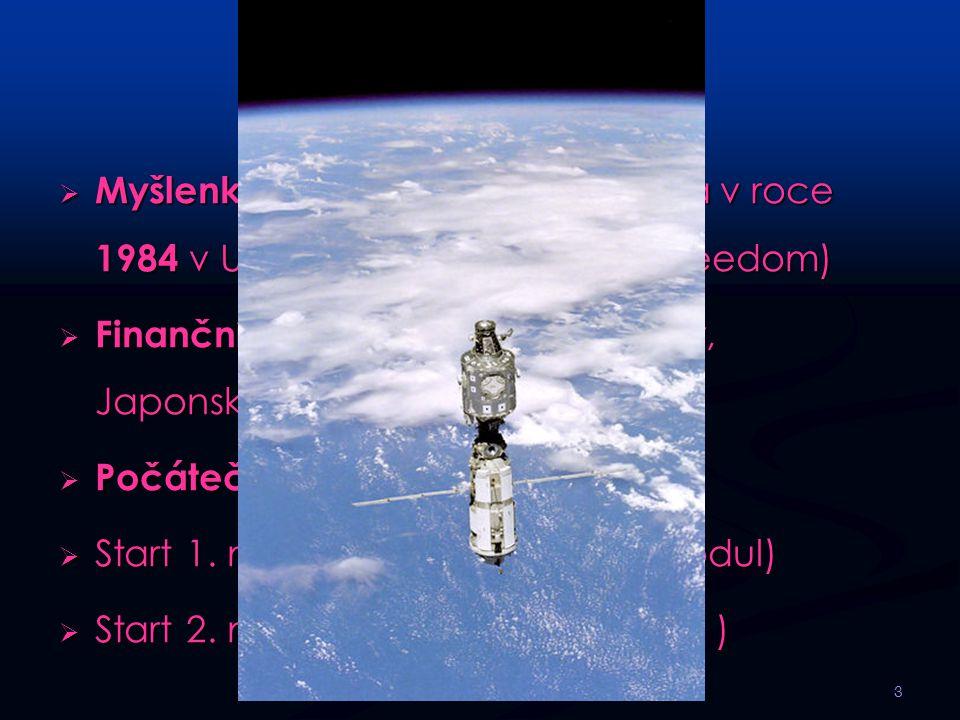 Vznik ISS  Myšlenka vesmírné stanice vznikla v roce 1984 v USA. ( Ronald Reagan – Freedom)  Finanční potíže - připojení Kanady, Japonska, Evropy a R