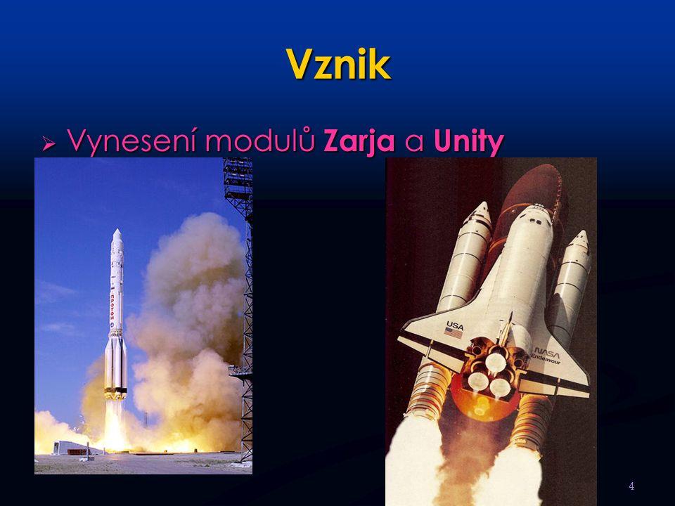 Vznik  Vynesení modulů Zarja a Unity 4