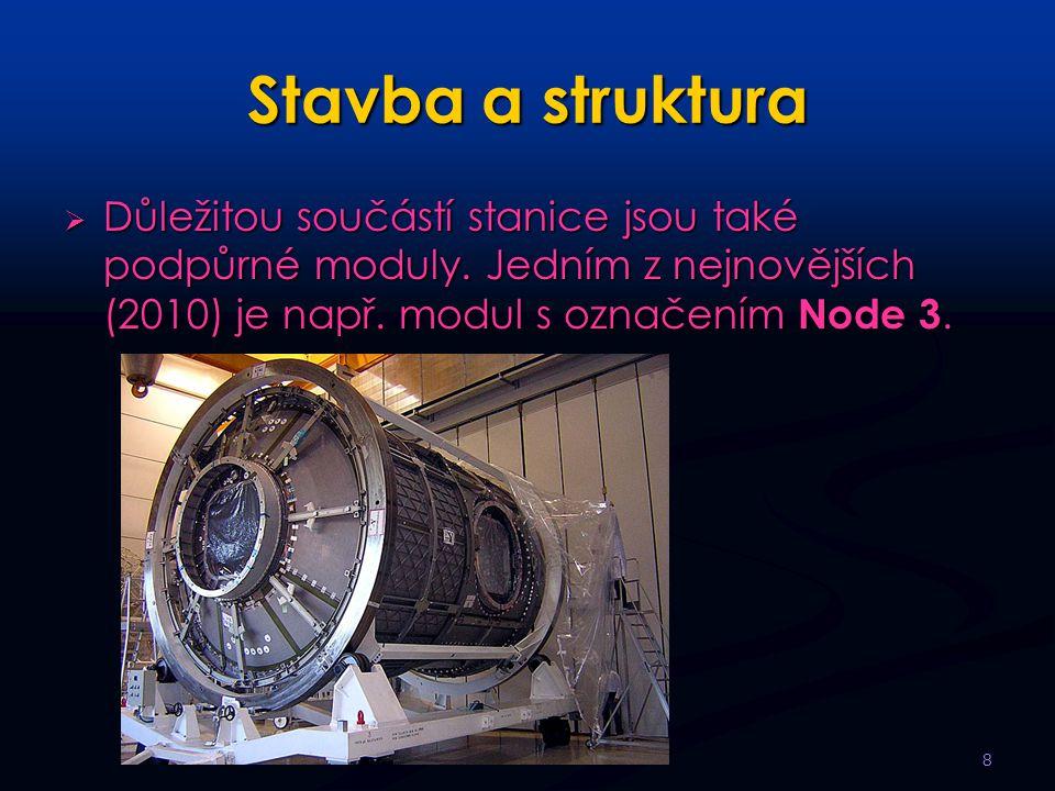 Stavba a struktura  Důležitou součástí stanice jsou také podpůrné moduly.
